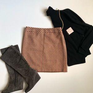 Loft Houndstooth Brown Skirt 4P